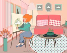 A self initiated illustration of a dreamy girl drawing paper boats in her lovely pink room. Paper Boats, Wacom Intuos, Pink Room, New Work, Behance, Gallery, Drawings, Creative, Illustration