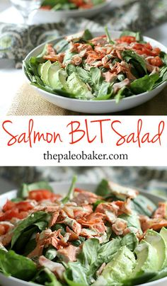 Salmon BLT Salad - light and fresh, packed with flavor #paleo #salad #bacon