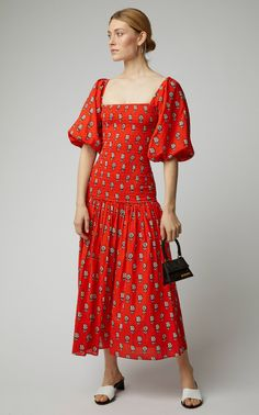 Block print boho red dress at Moda Operandi from Rhode Resort Simple Dresses, Nice Dresses, Casual Dresses, Summer Dresses, Awesome Dresses, Maxi Dresses, Boho Fashion, Fashion Dresses, Best Designer Dresses