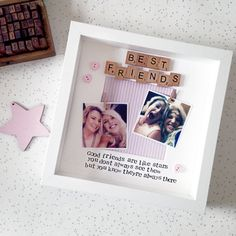 Best Friends personalised photo frame with scrabble letters and free photo printing