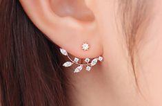 Silva Leaf Leaves Ear Jacket Womens Earrings at MyBodiArt.com
