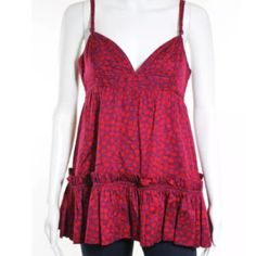 """Marc Jacobs red cami tank Beautiful red & purple floral design. 100% cotton. Adjustable straps. Pleated hem, buttons on reverse. Measures about 18"""" from armpit to hem. Marc Jacobs Tops Camisoles"""