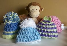 Great pattern for angel baby hats - they're really stretchy. Pattern is for preemie babies. I used 8 stitches instead of 12 inside the ring for the first row.