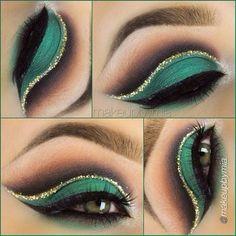 Green and  Gold Makeup Ideas for Inspiration   ko-te.com by @evatornado  