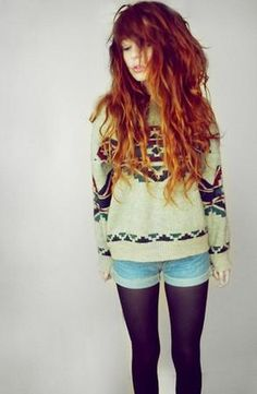 Love her outfit, and her hair #hipster, follow me for more hipster style -- I don't get the whole sweater-shorts-tights combo. If it's cold enough for a sweater, throw on some pants maybe.