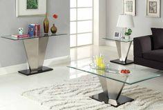 Silverstone Black Silver Metal Glass Coffee Table Set