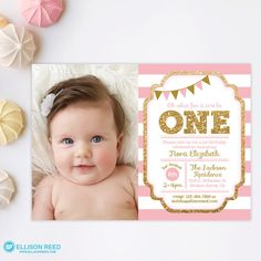 Pink and Gold invitation, 1st Birthday Invitation, Girl Birthday Invitation, Gold Glitter Invitation , Printable invite, Kids birthday by EllisonReed on Etsy https://www.etsy.com/listing/225109435/pink-and-gold-invitation-1st-birthday
