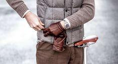 Handskar för herr i skinn, läder och mocka