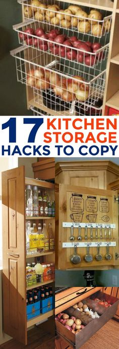 These 17 Kitchen Storage Organization Hacks Are LIFE CHANGING! I love the ideas on how to store you vegetables. BRILLIANT!