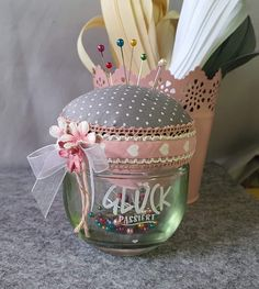 Jar Crafts, Diy And Crafts, Decorated Jars, Pin Cushions, Handicraft, Presents, Crafty, Couture, Embroidery
