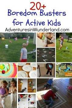 Boredom Busters for Active Kids, get moving, gross motor activities, exercise Creative Activities For Kids, Gross Motor Activities, Outdoor Activities For Kids, Sensory Activities, Summer Activities, Preschool Activities, Games For Kids, Family Activities, Boredom Busters