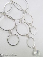 The Elegant Silver Bubbles & Moonstone Necklace (jewelry, handmade, hand made, dressy, casual, red carpet, evening, wedding, bride, bridal, fashion, style, stylish, women, woman)