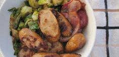 Brussel sprouts, bacon and sausage