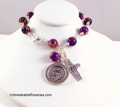 St Dymphna Rosary Bracelet In Purple Impression Jasper www.UnbreakableRosaries.com