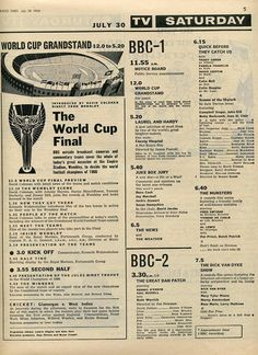 On this day I was playing Monopoly in our shed with my friend Carol while we sang 'World Cup Willie'. 1970s Childhood, Childhood Memories, Radios, Book And Magazine, Magazine Covers, Vintage Television, Football Memorabilia, Laurel And Hardy, Vintage Ads