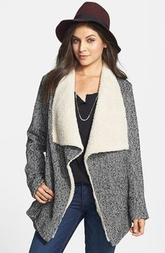Tulle Drape Front Faux Shearling Jacket (Juniors) | Nordstrom