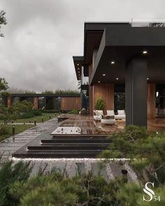Modern Exterior House Designs, Modern House Facades, Modern Villa Design, Architectural Design House Plans, Modern Architecture House, Architecture Design, Exterior Design, Modern Glass House, Dream House Interior