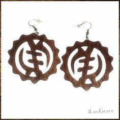 Wooden Earrings ~ Brown Symbol ~ #Unbranded #DropDangle Girls Earrings, Women's Earrings, Simple Earrings, Statement Earrings, Hamsa Design, African Map, Adinkra Symbols, African Earrings, Wooden Earrings