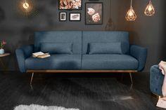 Luxusná rozkladacia sedačka modrá. Couch Design, Sofa, Couches, Love Seat, Living Room, Retro, Interior, Blue, Furniture