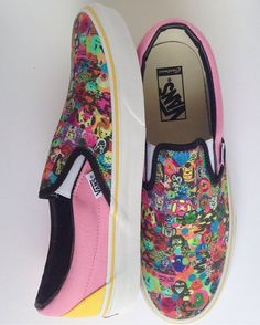 We love these custom Slip-Ons that artist, Pacolli created with a print of her art! Upload your own photos & art to customize your pair at vans.com/customs.