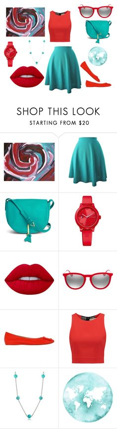 """Turquoise & Red"" by chairityj-1 ❤ liked on Polyvore featuring Vera Bradley, Tommy Hilfiger, Lime Crime, Ray-Ban, Roger Vivier, Alice + Olivia and Antica Murrina"