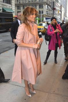 Jennifer Lopez was spotted in NYC in a Reem Acra Fall 2014 Blush Pink Coat and $1,195 Christian Louboutin Crystal Embellished Follies Strass Pumps: On the