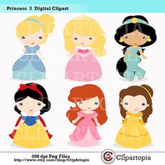 Princess 3 Digital Clipart / Fairytale Princess Digital Clipart For Personal and Commercial Use / INSTANT DOWNLOAD via Etsy