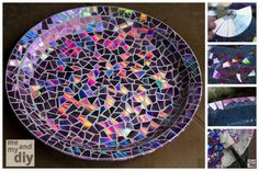 reuse 20 Goods Home Design made this beautiful plate using broken CDs! I've never known what to do with those things, but this is such a lovely and easy way to recycle broken CDs! Plus, I always love a good mosaic project..flower pots
