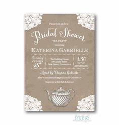 Vintage Lace Tea Party Bridal Shower Invitation - Shabby Chic - PRINTABLE DIY Digital or Printed Design (optional). $17.00, via Etsy.