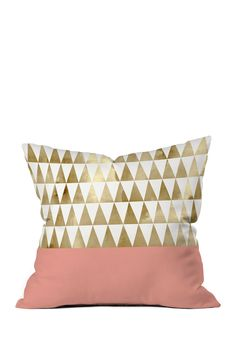 Cute Gold Pink Pastel Geometric Print Pillow