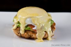 #paleo Salmon Eggs Benedict | Salmon Cakes: 300 g fresh wild salmon; 1 beaten egg; zest of ½ lemon; ¼ cup almond meal; 1 tsp cumin powder; salt and pepper; 1 Tbsp olive oil | Avocado: 1 avocado; 2 spring onions, thinly sliced; juice of ½ lemon; salt and pepper | Hollandaise: 2 egg yolks; 1 Tbsp lemon juice; ½ tsp mustard powder; pinch of salt; ½ cup grass fed butter or ghee | Other ingredients: 4 eggs; 100 g wild smoked salmon
