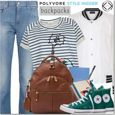 A fashion look from August 2016 by mada-malureanu featuring Paul Smith, Antipodium, 7 For All Mankind, Converse, Smythson, Radley, backpacks, contestentry, PVSt...