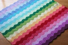 ripple blanket - rainbow  still haven't mastered the ripple, but I will get it eventually