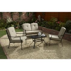 The Nevada Conversation Set is the perfect alfresco dining companion for any garden or patio. Featuring a stylish beige and black design, this wonderful set includes 2 single chairs, 1 two seater bench and a glass table. Colour/Style Beige and Black 4 Piece Conversation Garden Set Components 2 x Single Chairs 1 x Two Seater Bench 1 x Glass Table Product Materials Powdered Coated Steel 5mm Tempered Glass FR Treated Cushions Product Dimensions > Single Chairs Height Width Depth 81cm 65.5cm…