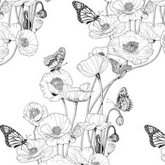 Poppies and Butterflies. fabric by art_on_fabric on Spoonflower - custom fabric