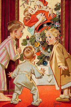 Kissing Santa Claus, by Joseph Christian Leyendecker