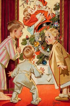 Kissing Santa Claus, by Joseph Christian Leyendecker
