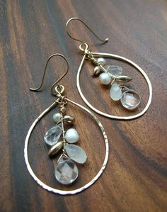 Earrings, Moonstone Crystal Pearl, Chandelier Gold, Silver, Hammered Ovals