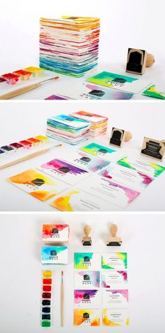 Add some watercoloring to a stamped business card for pops of color - by Likadi