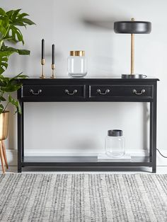 Black Wooden Console Table - Console Tables - Dining, Coffee & Side Tables - Luxury Home Furniture Iron Console Table, Wooden Console Table, Hallway Console, Dining Chairs, Dining Table, Dining Area, Luxury Home Furniture, Hall Furniture, Kitchen Furniture