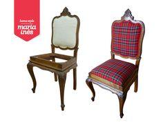 E porque hoje está um dia chuvoso que sugere o inverno, resolvi publicar um dos meus recentes trabalhos. O restauro de uma cadeira Queen Ann e estofagem com o tão tradicional xadrês escocês.