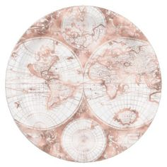 Rose Gold Pink Metal Glitter Antique World Map Paper Plate - glitter gifts personalize gift ideas unique