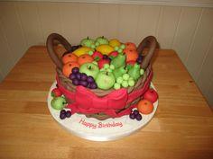Basket of Marzipan Fruits Cake
