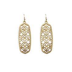 9de820430 GET IT GIRL Gold Filigree Cutout Clover Earrings for Women Brand Rectangle  Hollow Earrings Jewelry