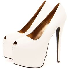 Boohoo Lyla White Super High Extreme Platform Peeptoe Heels ($70) ❤ liked on Polyvore featuring shoes, pumps, heels, sapatos, high heels, zapatos, white heel pumps, high heel platform pumps, peep toe shoes and platform pumps