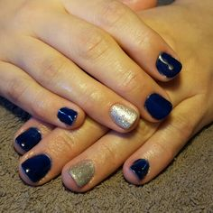 Nails blue silver