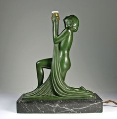 New Max Le Verrier Lampe Art Deco Raymonde Guerbe um Akt Nude Dancer