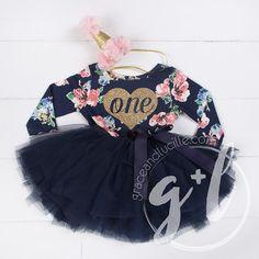 primer cumpleaños traje floral vestido con tutu por GraceandLucille