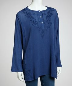 Take a look at this Navy Crepe Kurta Top by ZAD on #zulily today!  Makes me miss all the Indian store I used to shop in NYC during those hot summers...