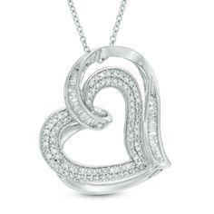 Zales: 1/2 CT. T.W. Diamond Tilted Double Heart Pendant in Sterling Silver
